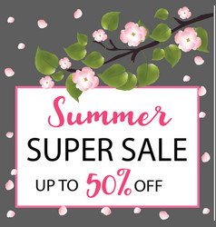 summer super sale banner with a flowering tree vector image