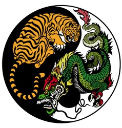 yin yang dragon and tiger symbol vector image