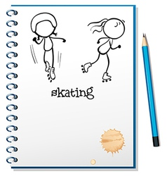 A notebook with a sketch of two people skating vector image vector image