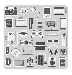 flat icons laptop set vector image