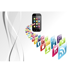 Global iphone apps icons tech background vector image