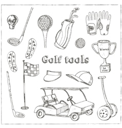 hand drawn set with Golf tools vector image vector image