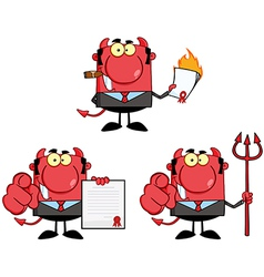 Happy Devil Boss Cartoon Characters Collection vector image vector image