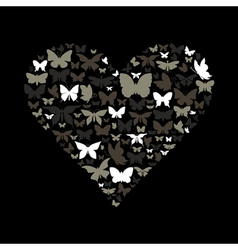 Heart the butterfly vector image vector image