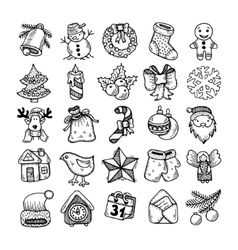 sketch drawing christmas doodle icons vector image vector image