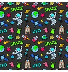 Space Planets and UFO Aliens Seamless Pattern vector image