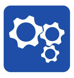 blue white information sign - three cogwheel icon vector image vector image