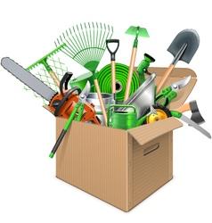 Carton Box with Garden Accessories vector image vector image