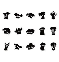 chef hats icon set vector image vector image