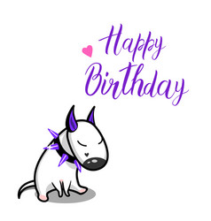 cute cartoon dog white bull terrier and vector image vector image