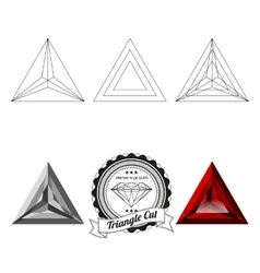 Set of triangle cut jewel views vector image vector image