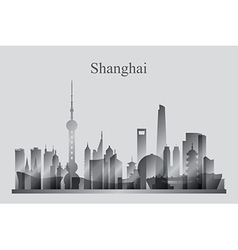 Shanghai city skyline silhouette in grayscale vector image