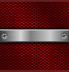 steel long plate with screws on red perforated vector image vector image