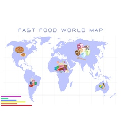 World Map with Fast Food and Take Away Food vector image