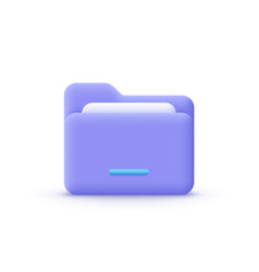 3d cartoon style minimal folder with files paper vector image
