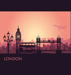 abstract cityscape london with sights at vector image