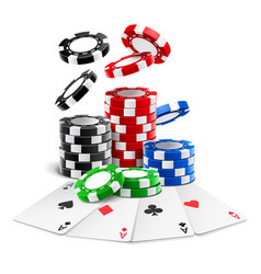 Aces lying near realistic casino chips cards vector