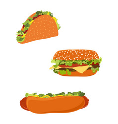 american fast food hotdog burger hamburger or vector image