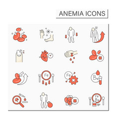 Anemia color icons set vector