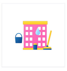 Apartment cleaning flat icon vector