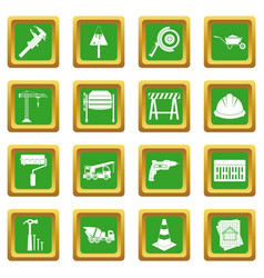 Architecture icons set green vector