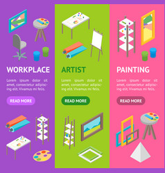 Artist workplace interior with furniture banner vector