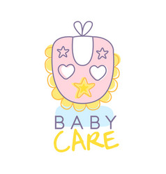 Baby care logo design emblem with pink baby bib vector