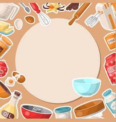 baking cartoon tools round pattern kitchen vector image