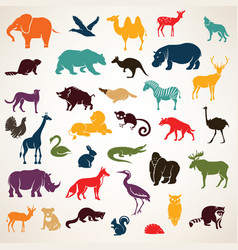 Big set of african and european animals vector
