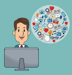 business man digital marketing computer strategy vector image
