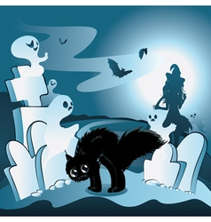 Cartoon Cemetery with Ghosts3 vector