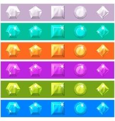 Cartoon diamonds set in editable different colors vector