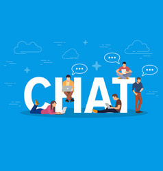 Chat concept young people using vector