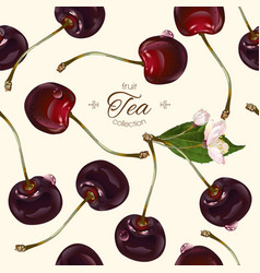 Cherry tea seamless pattern vector