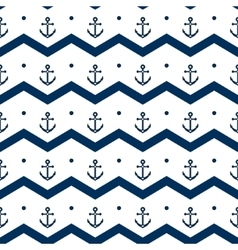 Chevron with anchors in blue and white seamless vector image