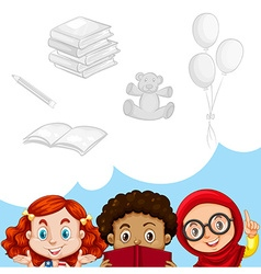 Children and other objects vector