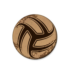 circle brown volleyball grunge frame vector image