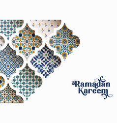 close-up colorful ornamental arabic tiles vector image