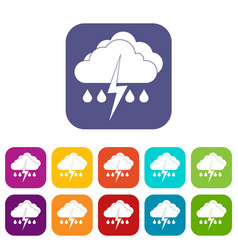 Cloud with lightning and rain icons set vector