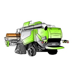 colored sketch of big harvester vector image