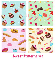 colorful pastry and confectionery patterns set vector image