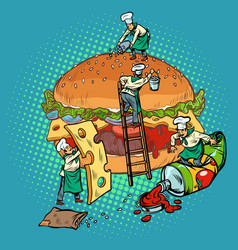 cooking burger mini chefs gather ingredients vector image