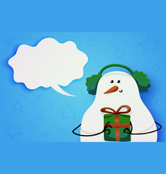 Cute snowman in winter fur headphones and a gift vector