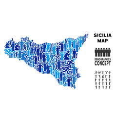 Demographics sicilia map vector
