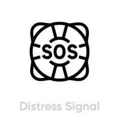 Distress signal lifebuoy help icon editable line vector