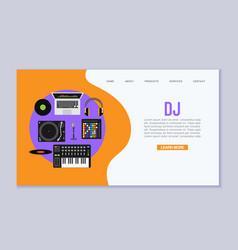 dj music workspace flat design vector image