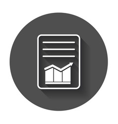 document with chart symbol flat with long shadow vector image