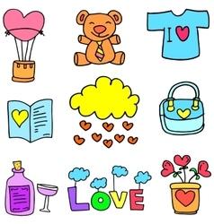 Doodle of love set art vector
