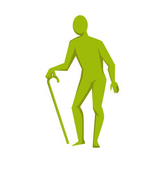Elderly person isolated green figure with cane vector