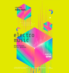 electro music club flyer with isometric cube vector image